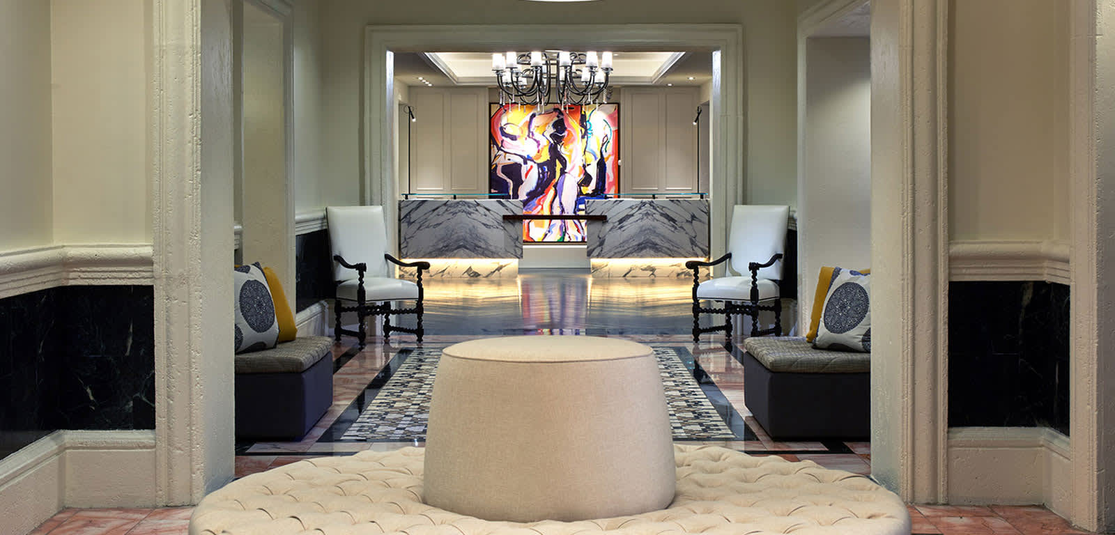 Interior Shot of Check-In Lobby at Hotel Colonnade