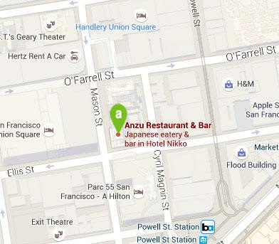 Location of Anzu Restaurant & Bar, San Francisco