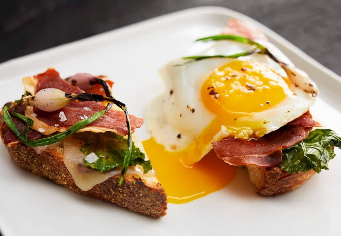 fried egg and prosciutto on toast