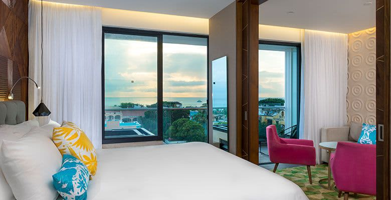 The Five Downtown, Playa del Carmen offers 1 King Bed Suite Partial Ocean View