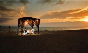 Couple Enjoying dinner at the Beach