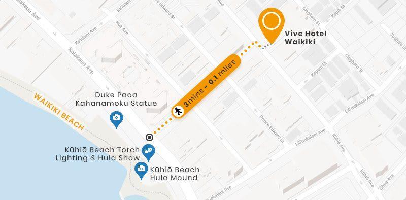 Vive Hotel Waikiki Hawaii Location