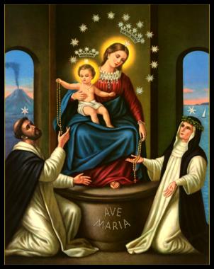 wizerunek Matki Bożej z dzięciątkiem i różańcem kojarzony z nowenną pompejańską