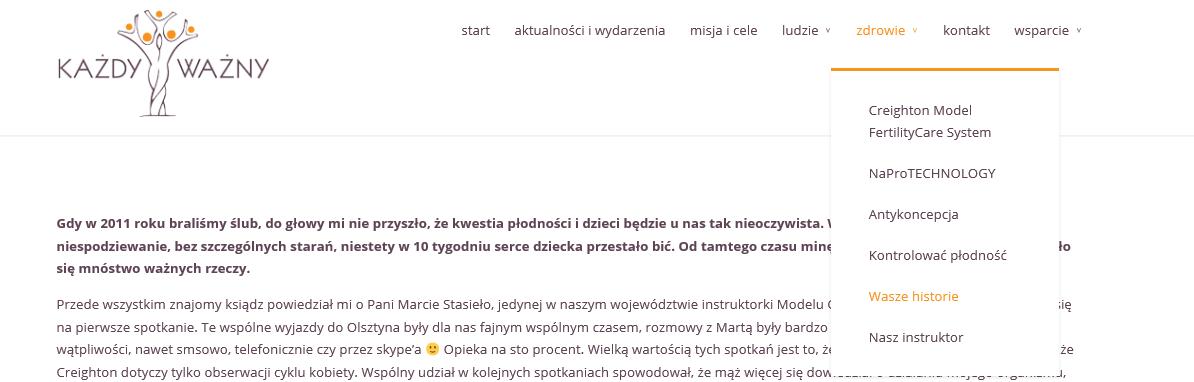 Świadectwa par na temat Naprotechnologii ze strony kazdywazny.pl