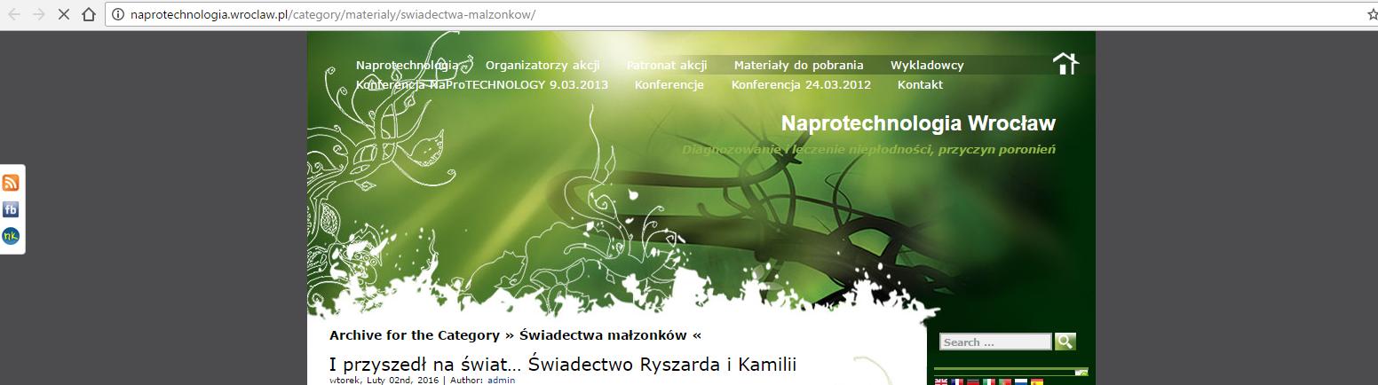 Świadectwa par na temat Naprotechnologii ze strony naprotechnologia.wroclaw.pl