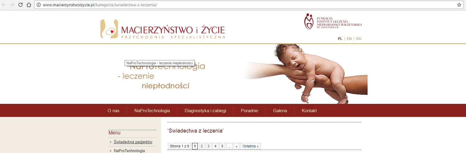Świadectwa par na temat Naprotechnologii ze strony macierzynstwoizycie.pl