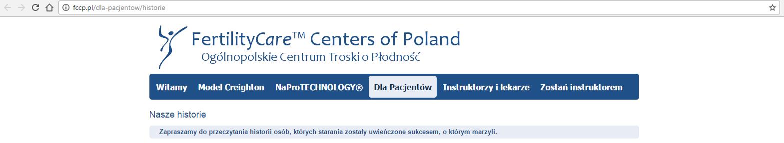Świadectwa par na temat Naprotechnologii ze strony fccp.pl