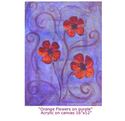 """""""Orange flowers on purple"""""""