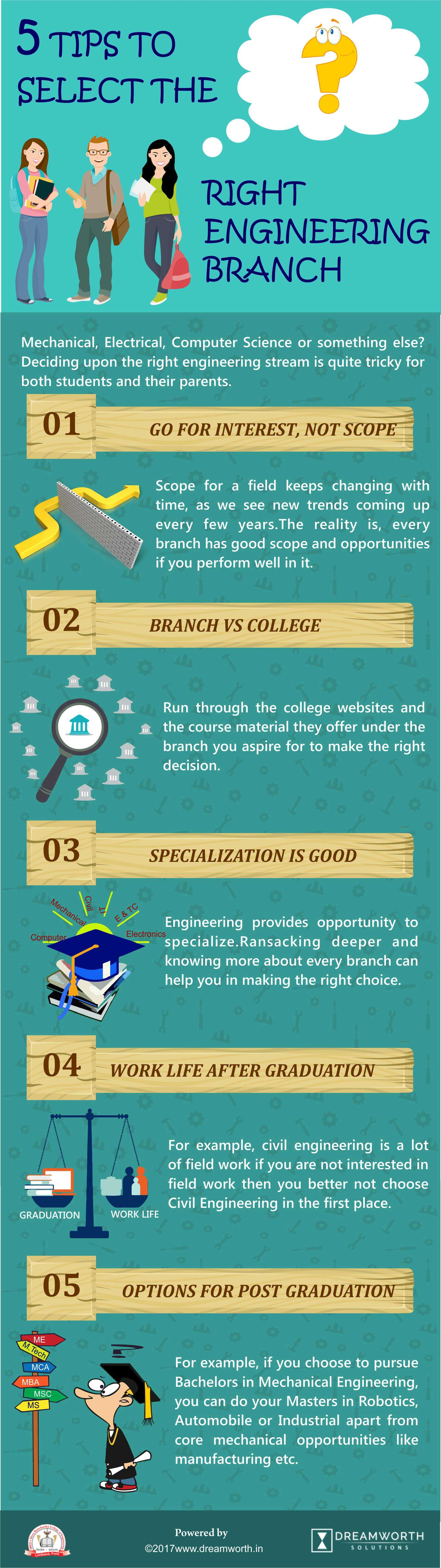 5 tips to select the right engineering branch-infographics