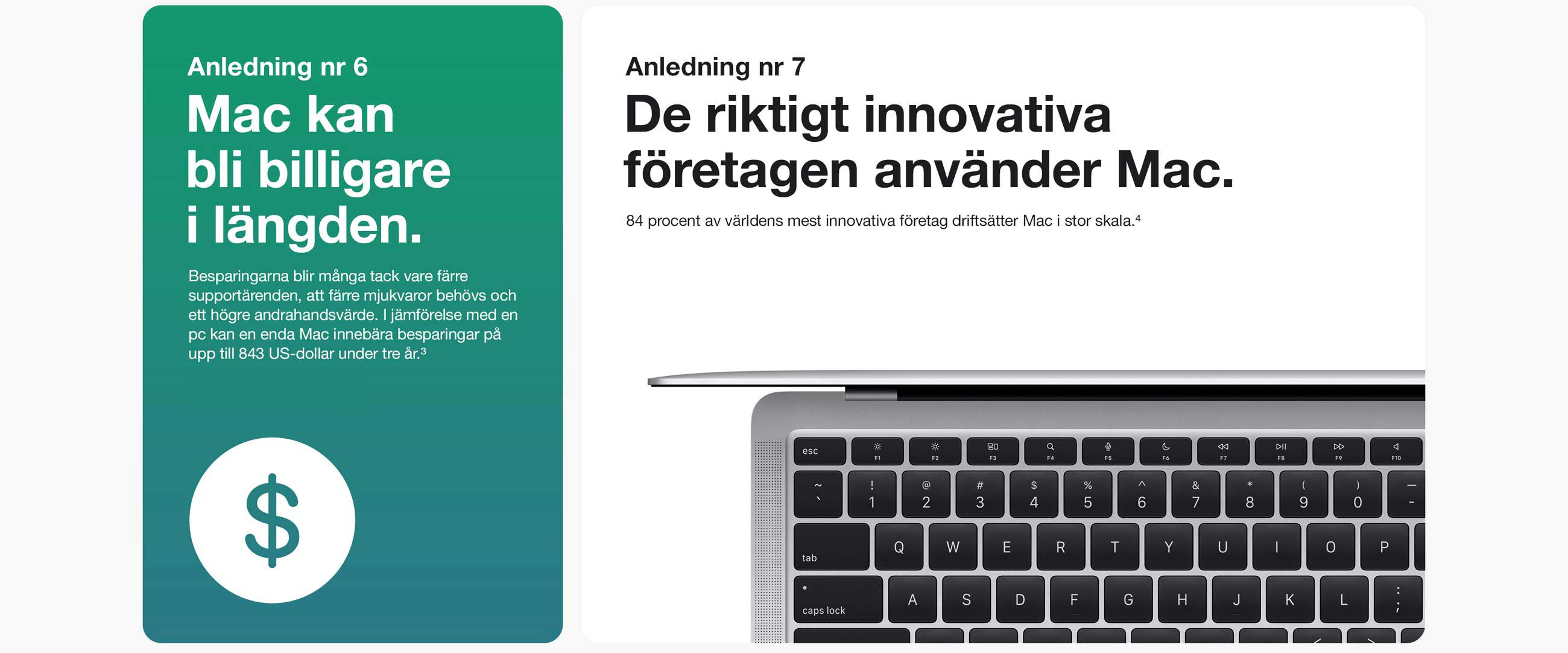Anledning 6. Mac kan bli billigare i längden tack vare att färre mjukvaror behövs, supportärenden blir färre och med ett högre andrahandsvärde. Anledning 7. De riktigt innovativa företagen använder Mac. 84 procent av världens mest innovativa företag driftsätter Mac i stor skala. 4