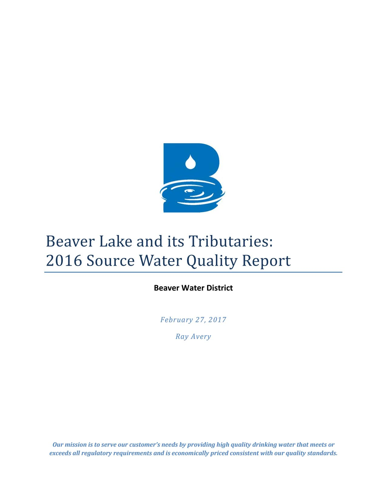2016 Beaver Lake Water Quality Report