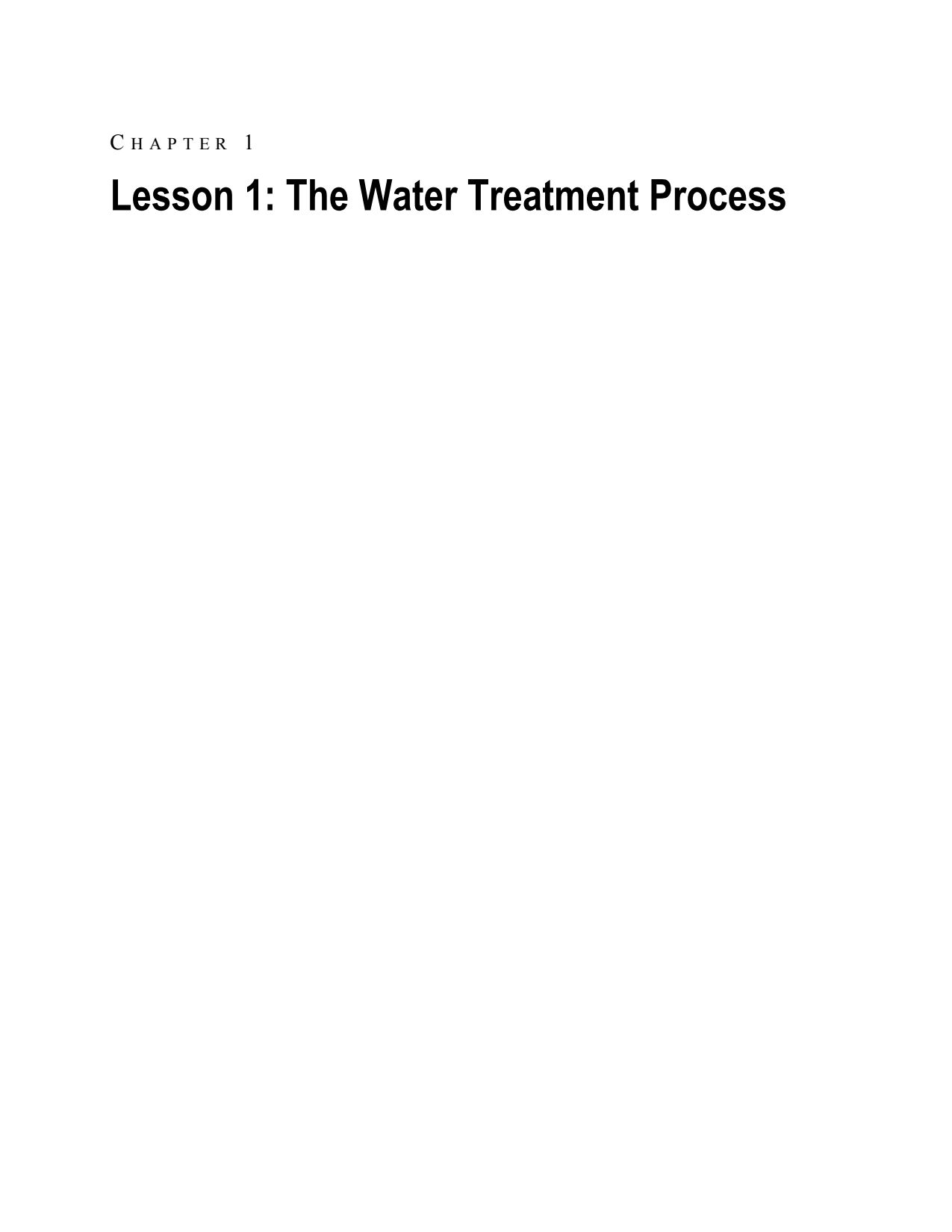 Lesson 1 – Water Treatment Process