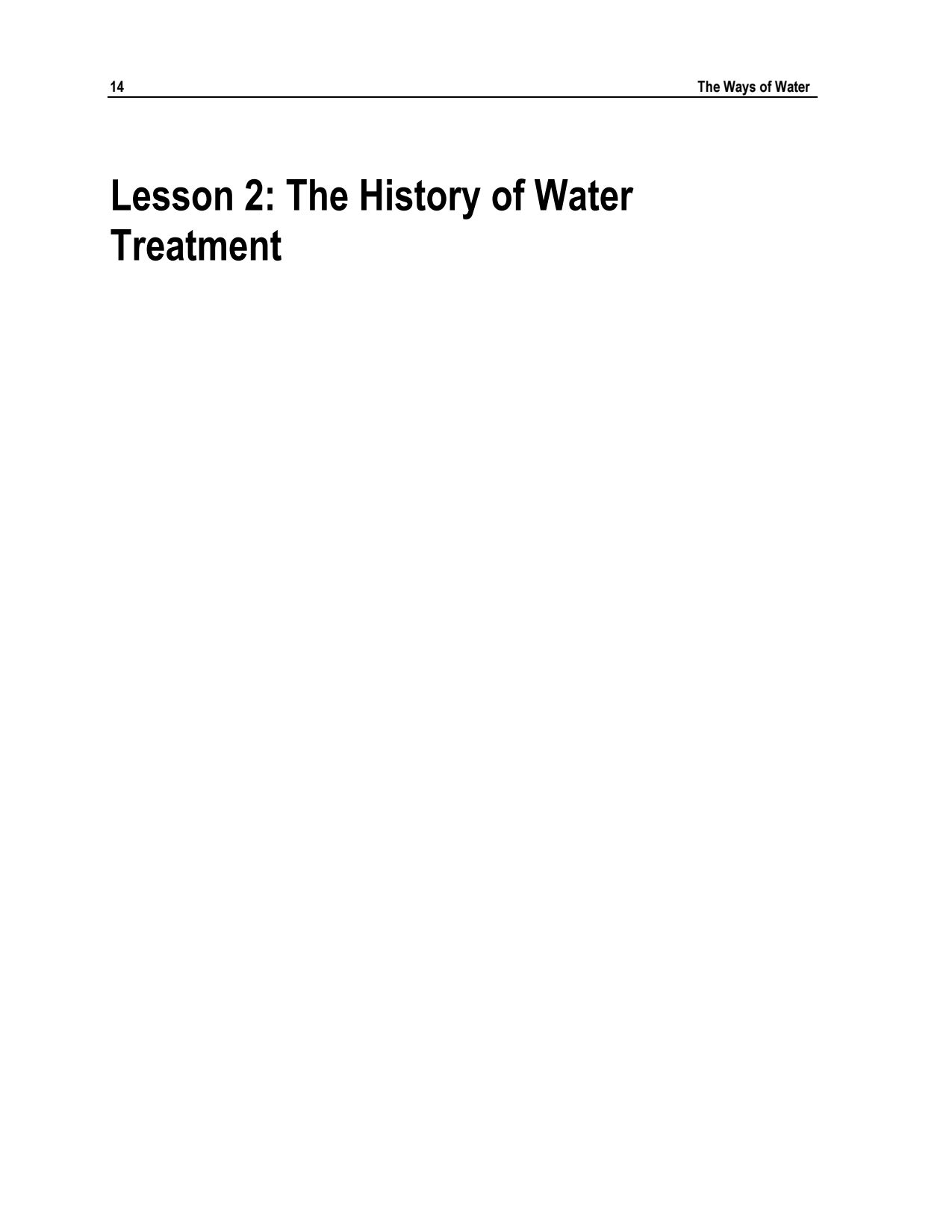 Lesson 2 – History of Water Treatment