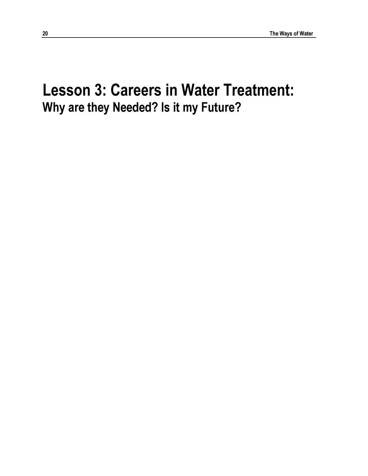 Lesson 3 – Careers In Water Treatment