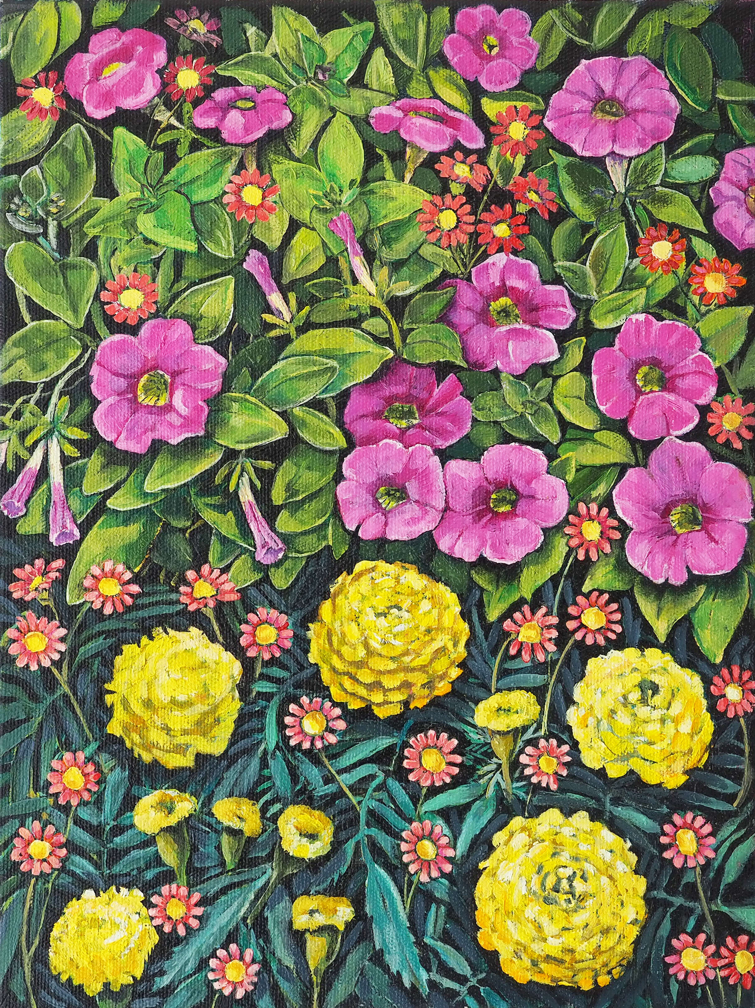 Petunias 'n' Pompom Marigolds 30x40cm oil on canvas $600 SOLD