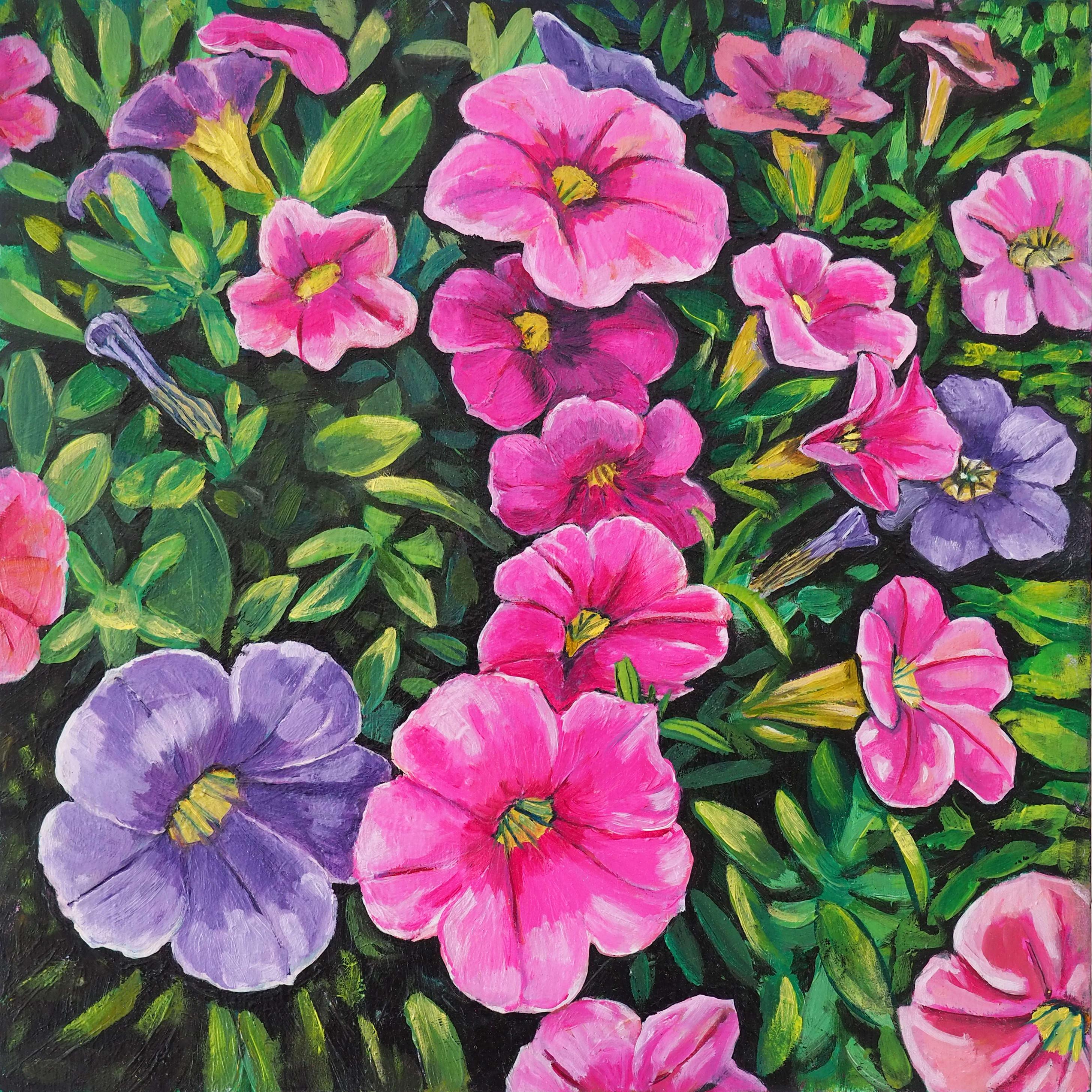 Pink 'n' Purple Cascade 25x25cm oil on board $400