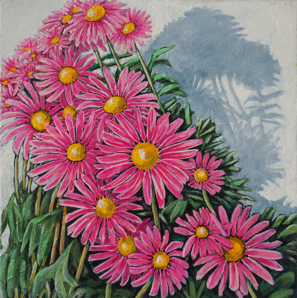 Daisy Cascade 25x25cm oil on canvas $350