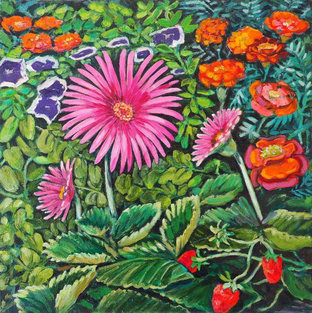 Flower 'n' Strawberry Cascade 25x25cm oil on canvas $350 SOLD
