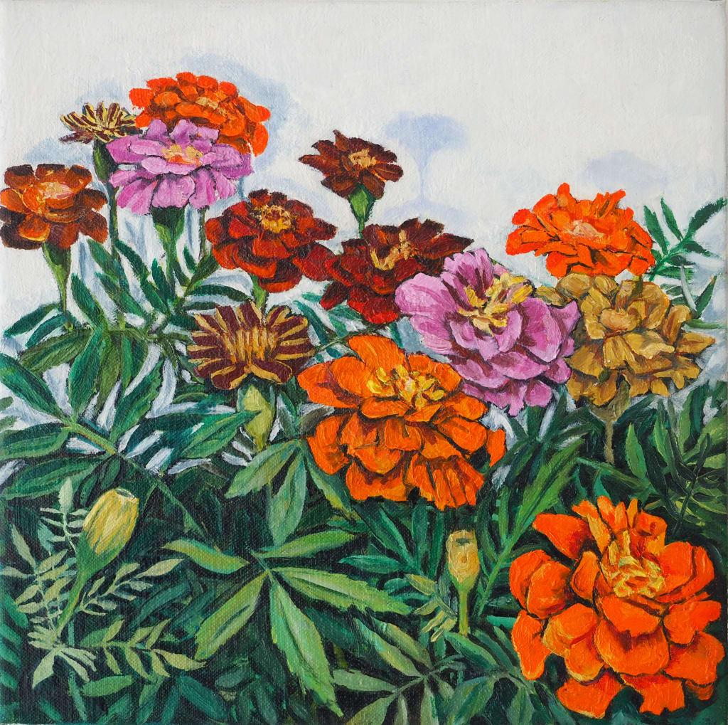 Wall Flower Triptych #3 30x30cm oil on canvas $350