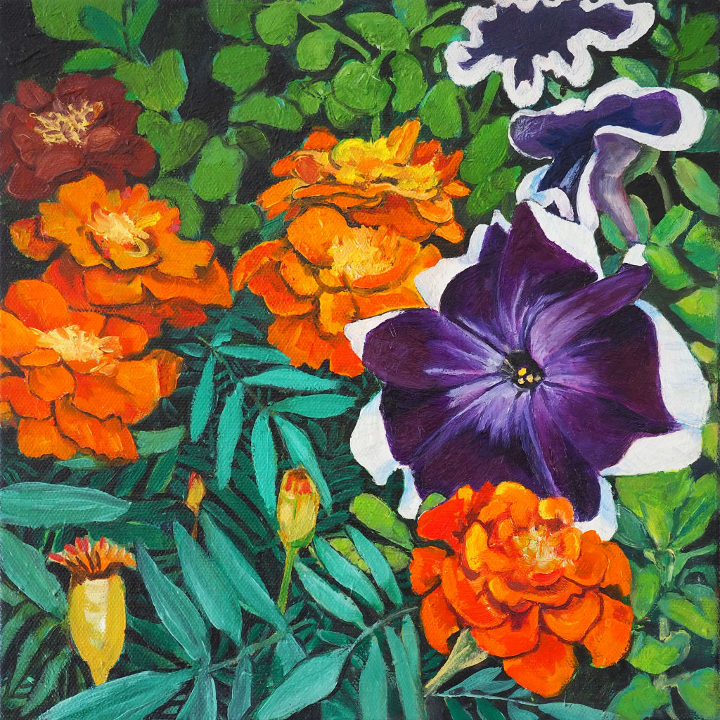 Marigold 'n' Petunia Cascade 25x25cm oil on canvas $350
