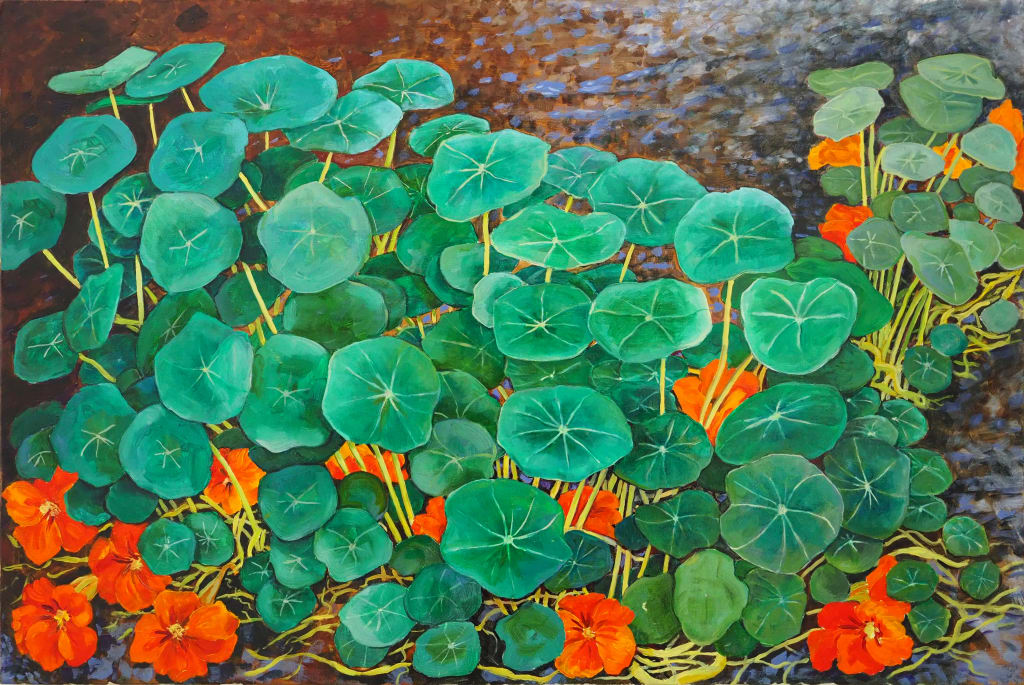 Shaded Nasturtiums 60x40cm oil on board $850 SOLD