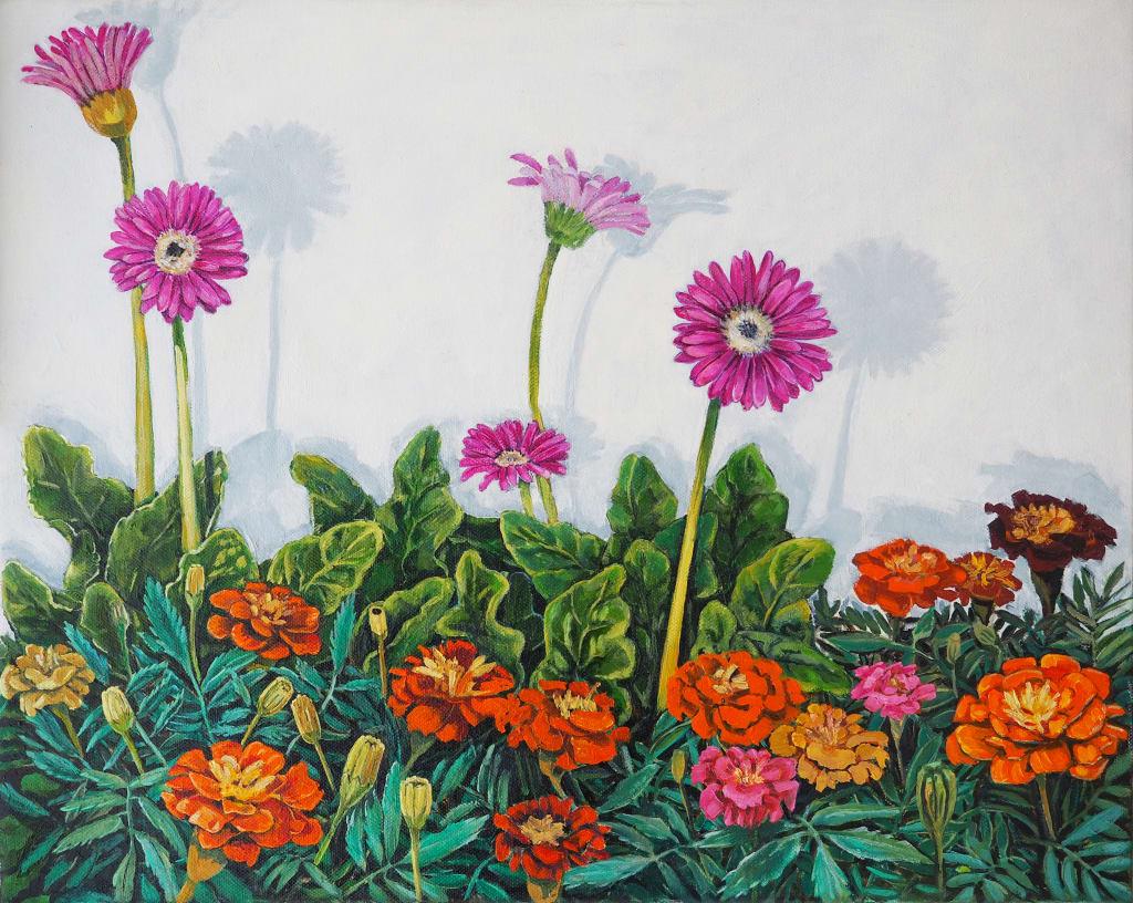 Wall Flower Triptych #2 30x50cm oil on canvas $600