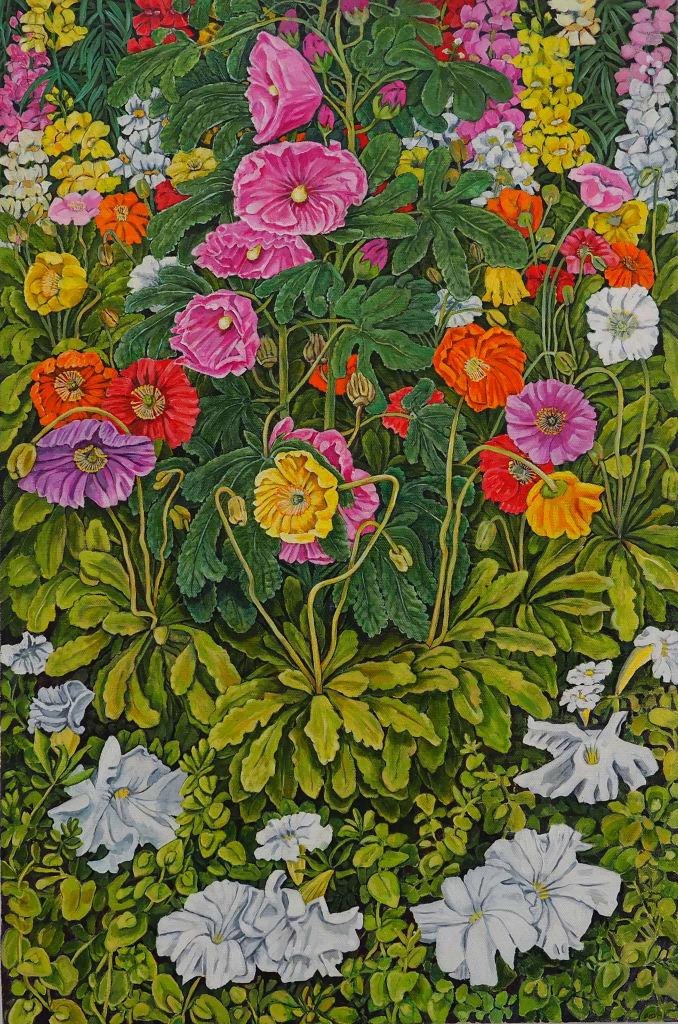 Holly Hock Altar Piece 91x61cm oil on canvas $2200