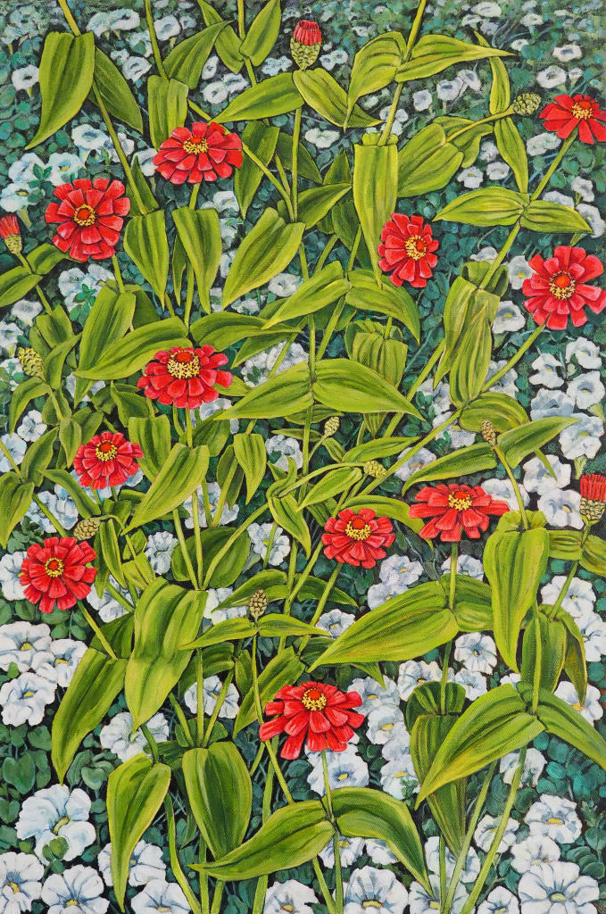 Zinnia and White Petunia field 50x70cm oil on canvas $1700