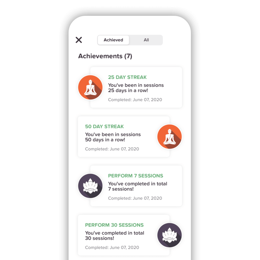 Milestones integrated into the app help you stay consistent with your meditation practice.
