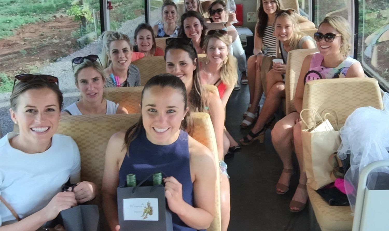 Group of ladies on a bus