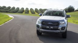 Drive Car of the Year Best Dual Cab Ute 2021 finalist Ford Ranger Wildtrak driven around a bend