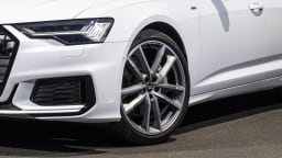 Drive Car of the Year Best Large Luxury Car 2021 finalist Audi A6 front left wheel close up
