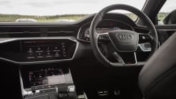 Drive Car of the Year Best Large Luxury Car 2021 finalist Audi A6 infotainment system and steering wheel
