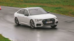 Drive Car of the Year Best Large Luxury Car 2021 finalist Audi A6 driven on a road