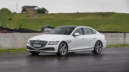 Drive Car of the Year Best Large Luxury Car 2021 finalist Genesis G80 driven on road