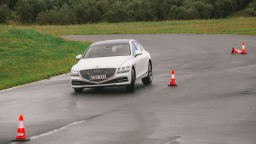 Drive Car of the Year Best Large Luxury Car 2021 finalist Genesis G80 driven on road circuit