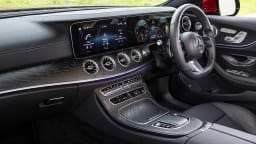 Drive Car of the Year Best Large Luxury Car 2021 finalist Mercedes Benz E-Class interior infotainment system and steering wheel
