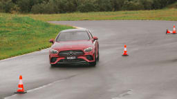 Drive Car of the Year Best Large Luxury Car 2021 finalist Mercedes Benz E-Class driven on road circuit