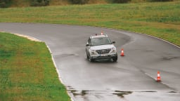 Drive Car of the Year Best Light SUV 2021 finalist Hyundai Venue driven on road wide shot