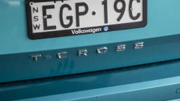 Drive Car of the Year Best Light SUV 2021 finalist Volkswagen T Cross rear label close up