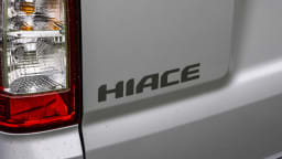 Drive Car of the Year Best Van 2021 finalist Toyota Hiace rear label close-up