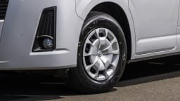 Drive Car of the Year Best Van 2021 finalist Toyota Hiace front left wheel close-up