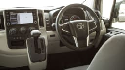 Drive Car of the Year 2021 Best Van finalist Toyota Hiace dashboard, infotainment system and steering wheel