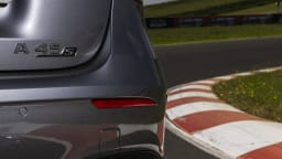 Drive Car of the Year Best Sports Car Under $100k finalist Mercedes-AMG A45 S rear label close-up