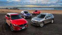 Mid-size SUV comparison: The new Mazda CX-5, Ford Escape and Nissan X-Trail take on the on the Volkswagen Tiguan.