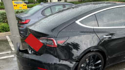 Tesla Model 3 bumper ripped off during storm