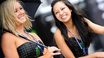 Promotioanl girls at the Grand Prix.
