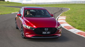 Drive Car of the Year Best Small Car of 2021 finalist Mazda 3front exterior on winding road