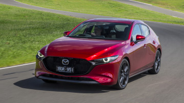 Drive Car of the Year Best Small Car of 2021 finalist Mazda 3 exterior front on road