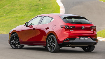 Drive Car of the Year Best Small Car of 2021 finalist Mazda 3 exterior rear view